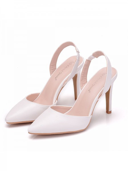 Women's PU Closed Toe Stiletto Heel Sandals