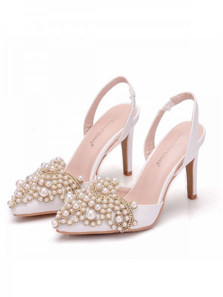 Women's PU Closed Toe With Pearl Stiletto Heel Sandals