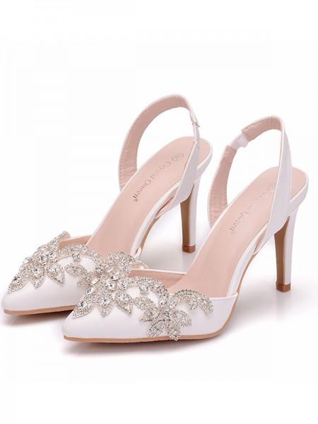 Women's PU Closed Toe With Rhinestone Stiletto Heel Sandals