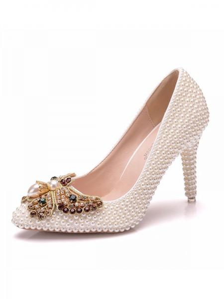 Women's PU Closed Toe Stiletto Heel High Heels With Rhinestone