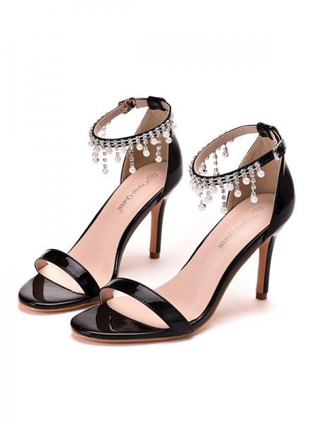 Women's PU Peep Toe Stiletto Heel Sandals