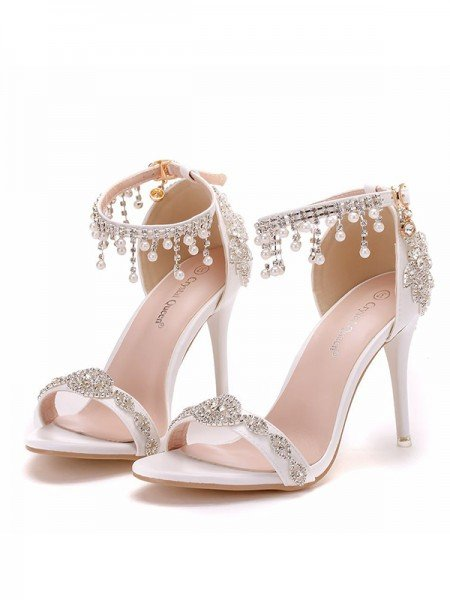 Women's PU Peep Toe With Pearl Stiletto Heel Sandals
