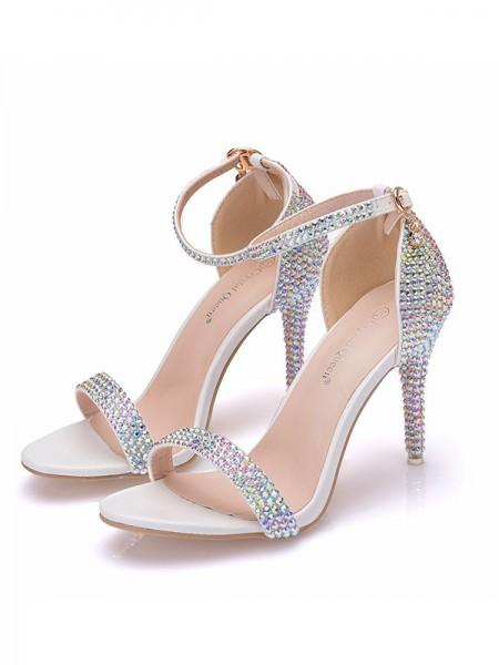 Women's PU Peep Toe With Rhinestone Stiletto Heel Sandals