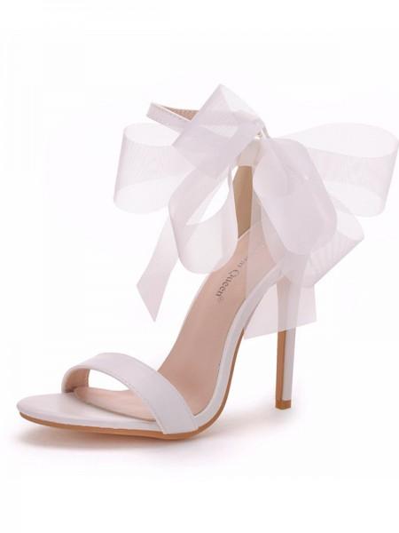 Women's PU Peep Toe With Bowknot Stiletto Heel Sandals
