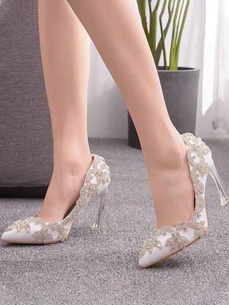 Women's PU Closed Toe With Flower Spool Heel High Heels
