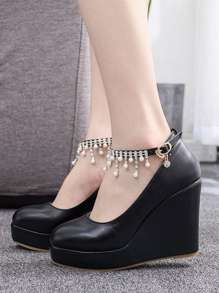 Women's PU Closed Toe With Beading Wedge Heel Wedges Shoes