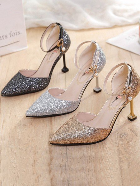 Women's Stiletto Heel Closed Toe Sparkling Glitter High Heels