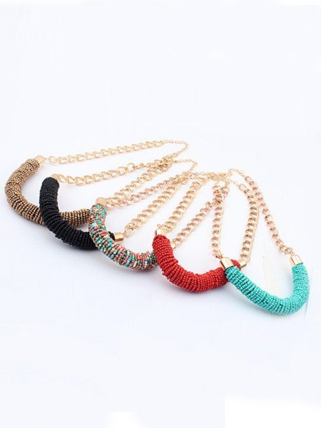 Occident Stylish Multicolor Seed Pearls Handwork Round Tube Hot Sale Necklace