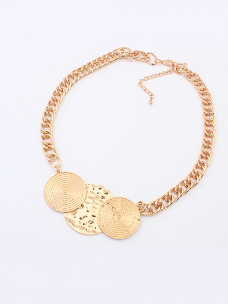 Occident Trendy Punk Stylish Round Plate Hot Sale Necklace