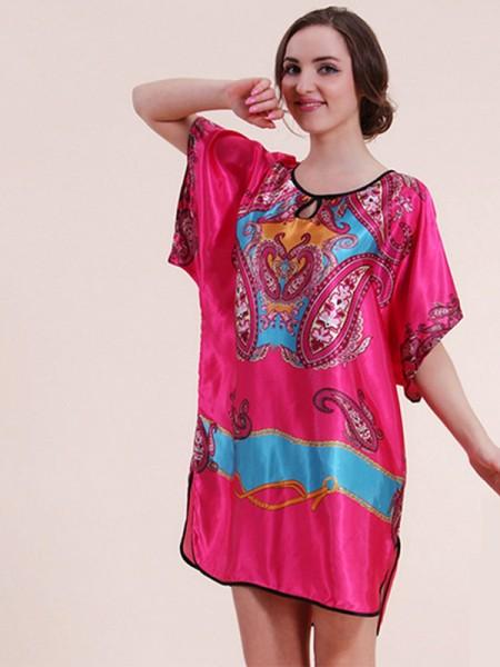 Suitable Silk like Satin Print Pajamas
