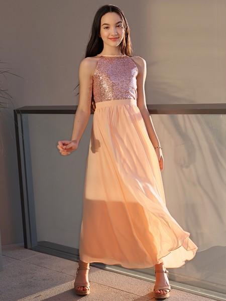 A-Line/Princess Chiffon Sequin Scoop Sleeveless Ankle-Length Flower Girl Dresses