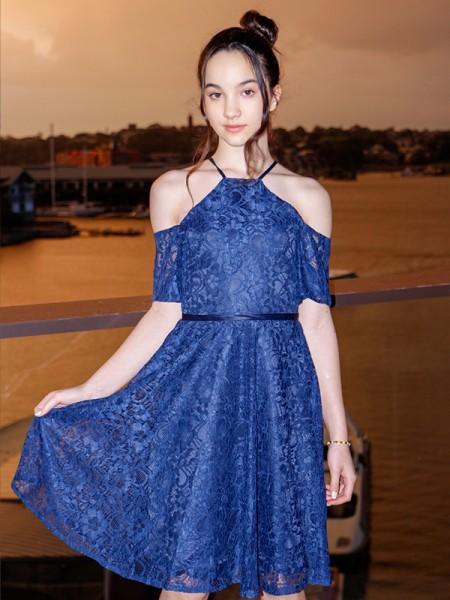 A-Line/Princess Lace Ruffles Halter Short Sleeves Knee-Length Flower Girl Dresses