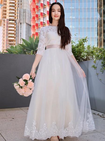 A-Line/Princess Lace Applique Scoop 3/4 Sleeves Floor-Length Flower Girl Dresses