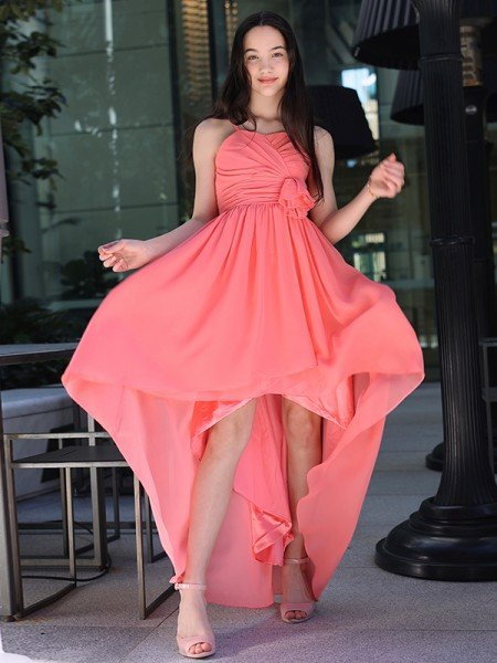 A-Line/Princess Chiffon Ruffles Spaghetti Straps Sleeveless Asymmetrical Flower Girl Dresses