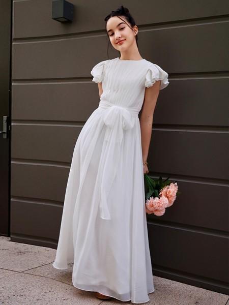 A-Line/Princess Chiffon Ruffles Scoop Short Sleeves Floor-Length Flower Girl Dresses