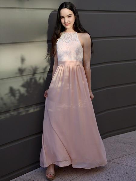 A-Line/Princess Chiffon Lace Halter Sleeveless Floor-Length Flower Girl Dresses