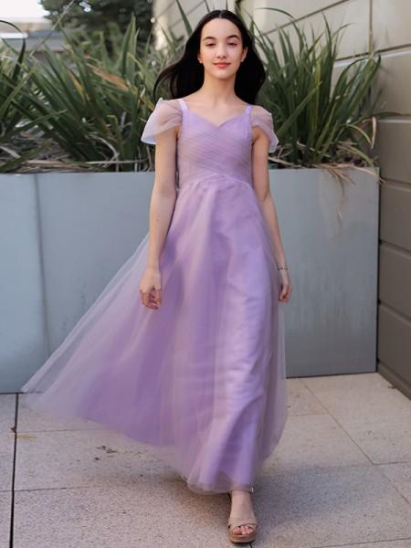 A-Line/Princess Tulle Ruched V-neck Short Sleeves Floor-Length Flower Girl Dresses