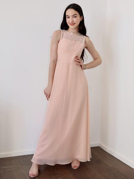 A-Line/Princess Chiffon Lace High Neck Sleeveless Floor-Length Flower Girl Dresses