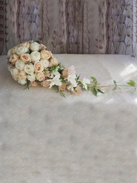 Elegant Cascade Cloth Bridal Bouquets