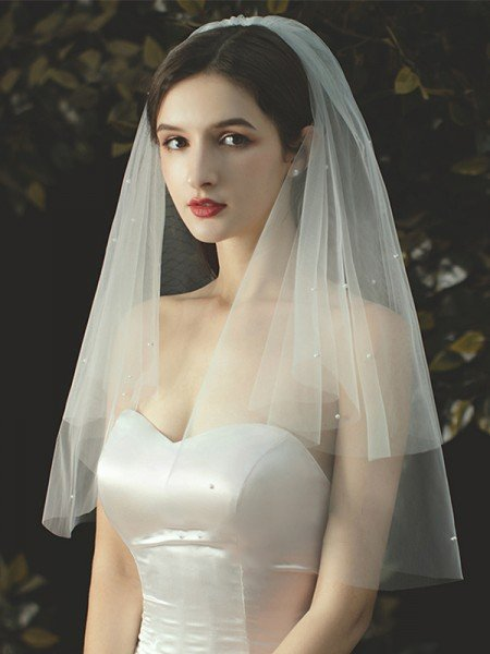 Attractive Tulle With Pearl Two-Tier Elbow Wedding Veils