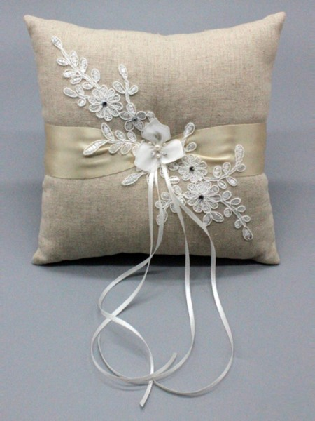 Gorgeous Ring Pillow In Cloth With Applique/Ribbons