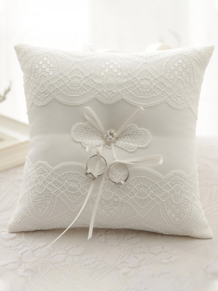 Classic Ring Pillow In Cloth With Lace/Pearl