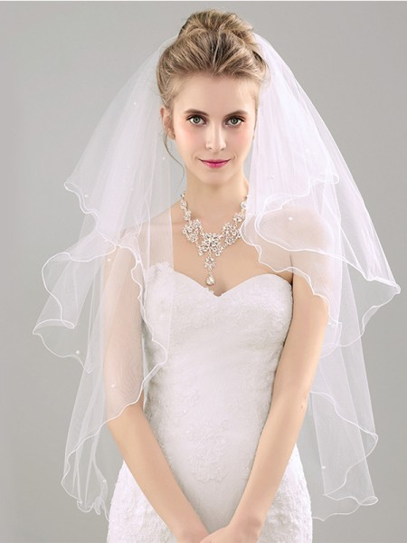 Fancy Tulle With Pearl Two Tier Elbow Wedding Veils
