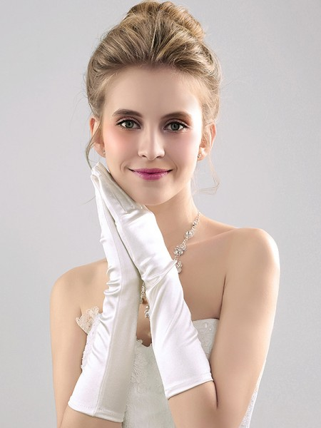 Simple Cloth Elbow Length Wedding Gloves