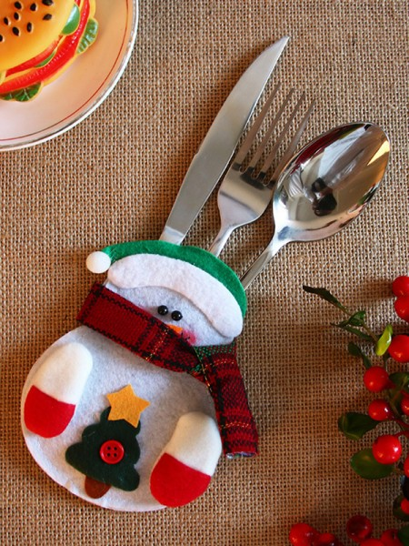 Christmas Lovely Snowman Cutlery Cover