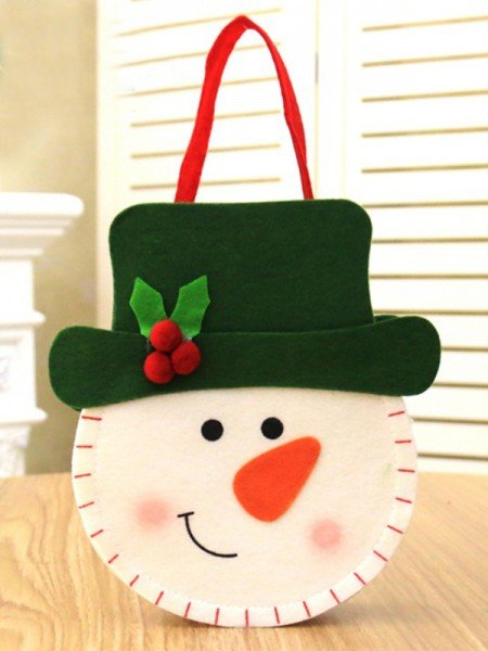 Christmas Cute Nonwoven Fabric With Snowman Bags