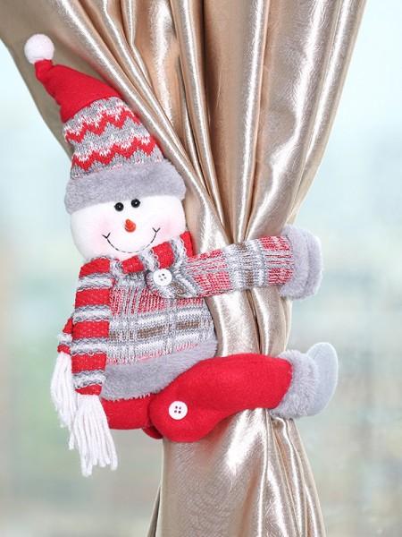 Christmas Excellent Snowman Cloth Curtain Button