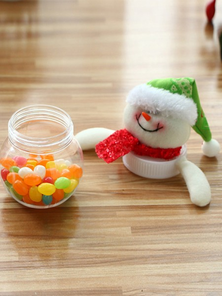 Stunning Artificial Fur With Snowman Christmas Decoration(Without Candies)