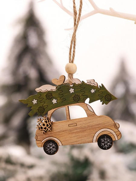 Christmas Fashion Car Wood Pendants(5 Pieces)