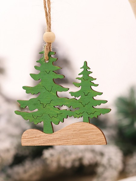 Christmas Hot Sale Tree Wood Pendants(5 Pieces)