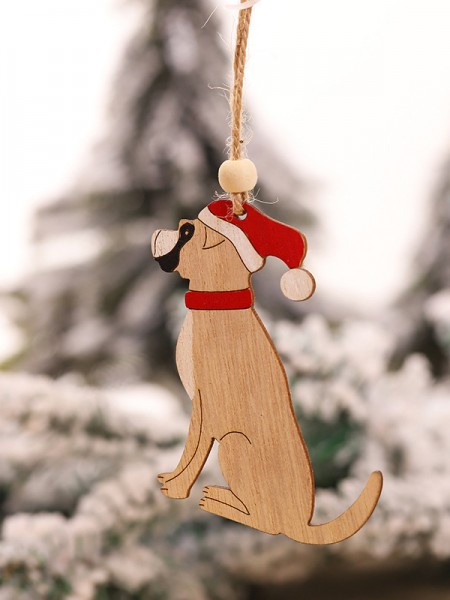 Christmas Graceful Dog Wood Pendants(5 Pieces)