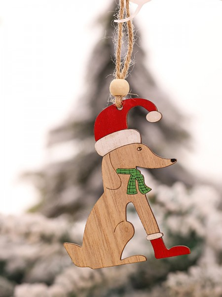 Christmas Excellent Dog Wood Pendants(5 Pieces)