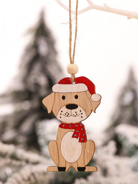 Christmas Pretty Good Dog Wood Pendants(5 Pieces)