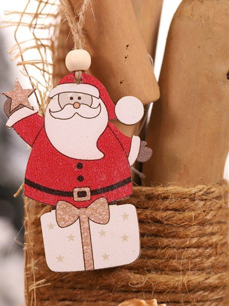 Christmas Graceful Santa Claus Wood Pendants(2 Pieces)