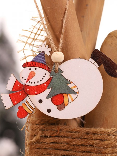 Christmas Gorgeous Snowman Wood Pendants(2 Pieces)