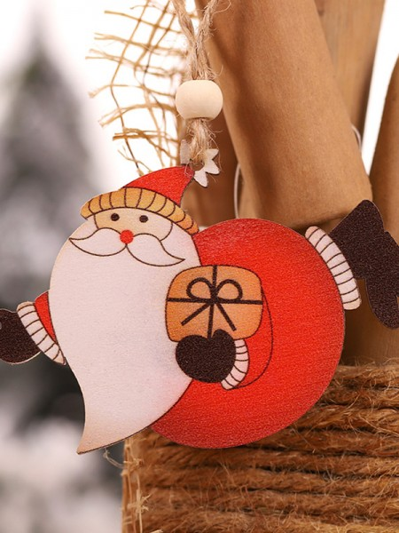 Christmas Hot Sale Santa Claus Wood Pendants(2 Pieces)