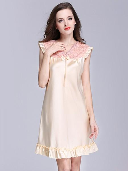 Cute Silk like Satin With Bowknot Pajamas