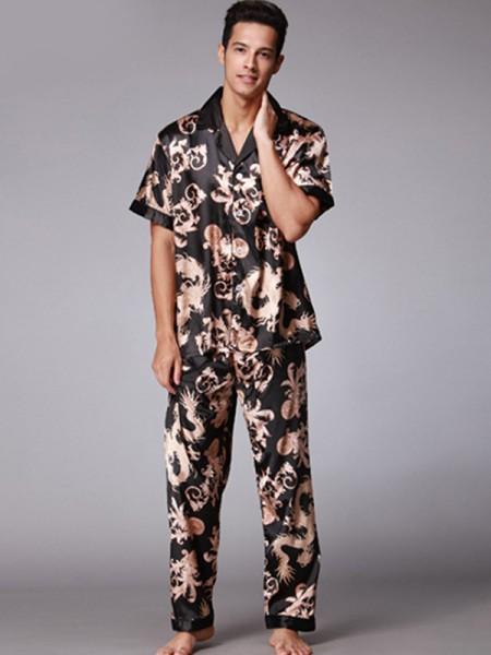 Silk like Satin Print Pajamas Sets For Men