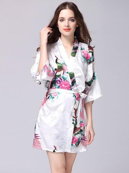 Pretty Silk like Satin Bride Bridesmaid Mom Print Robes