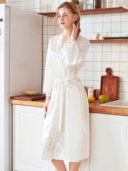 Lace Silk like Satin Bride Bridesmaid Mom Robes