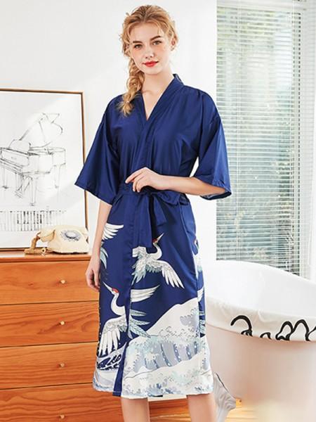 Print Silk like Satin Bride Bridesmaid Mom Robes