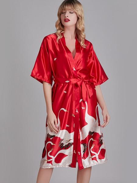 Comfortable Print Silk like Satin Bride Bridesmaid Mom Robes