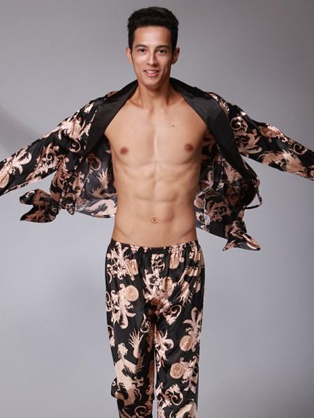 Silk like Satin Print Pajamas Long Sets For Men