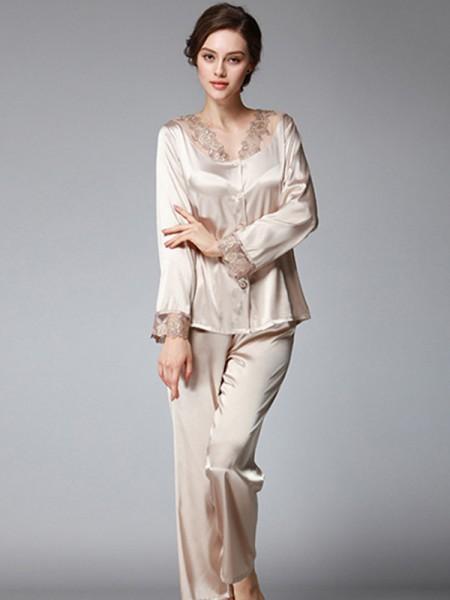 Silk like Satin Pajamas Long Sets