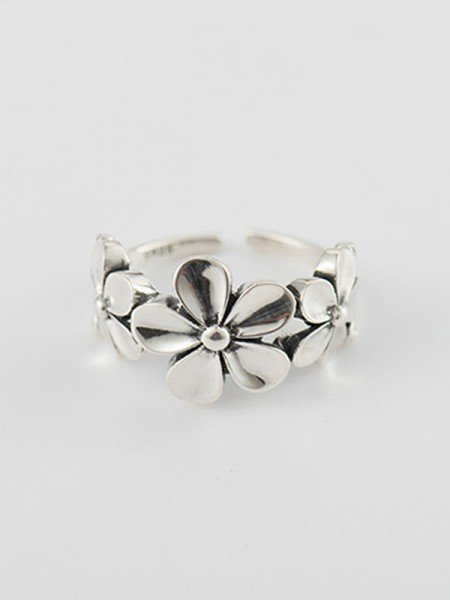 Simple S925 Silver With Flowers Adjustable Rings