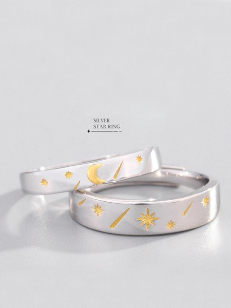 Beautiful S925 Silver With Stars And Moon Adjustable Couple Rings
